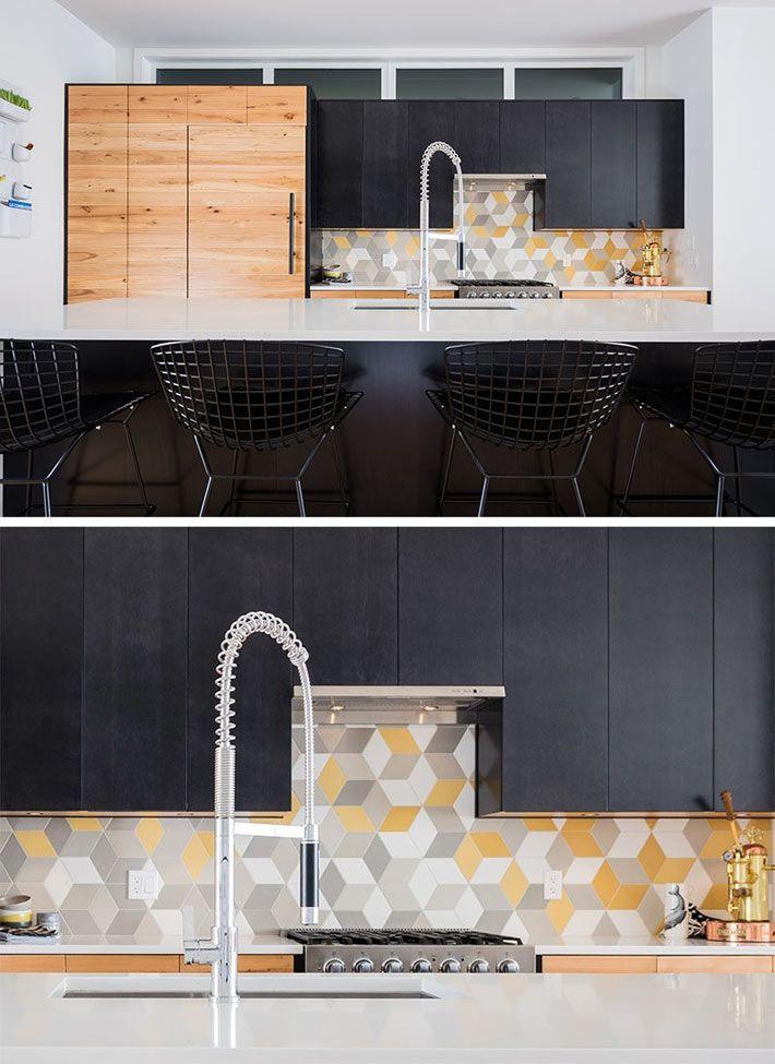 Красивая плитка с геометрическими узорами для кухонного фартука2