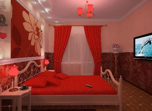 Красный цвет в спальне1
