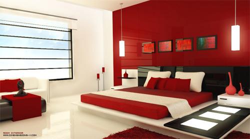 Красный цвет в спальне3