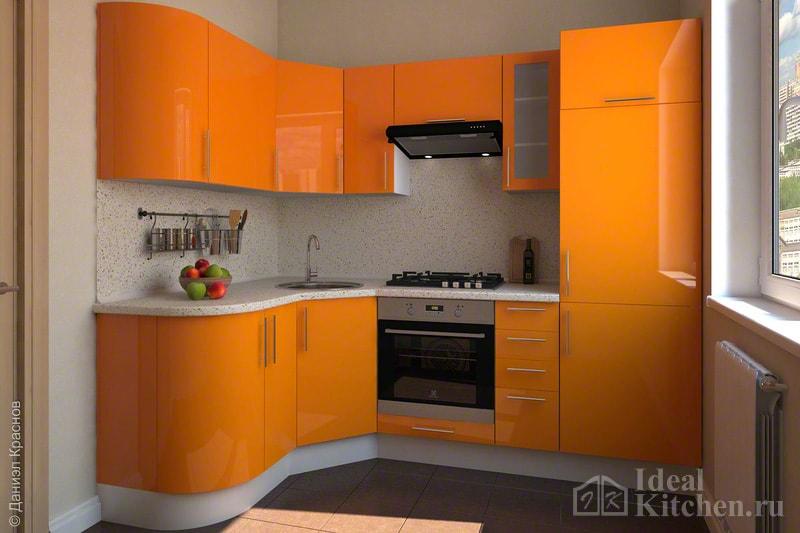 Кухня оранжевого цвета1