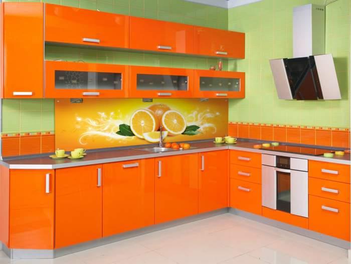 Кухня оранжевого цвета2