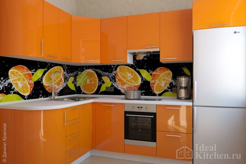 Кухня оранжевого цвета3