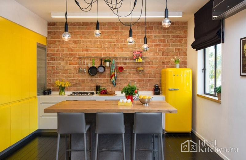 Кухня желтого цвета0