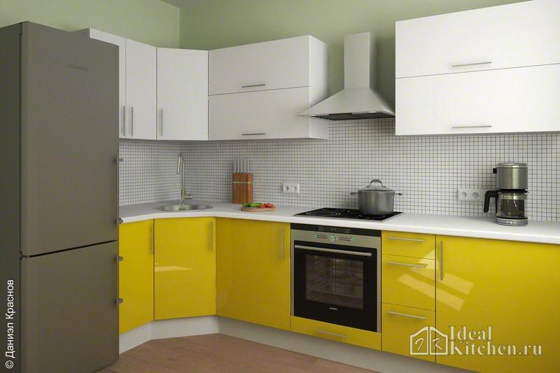 Кухня желтого цвета5