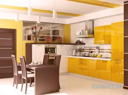 Кухня желтого цвета6