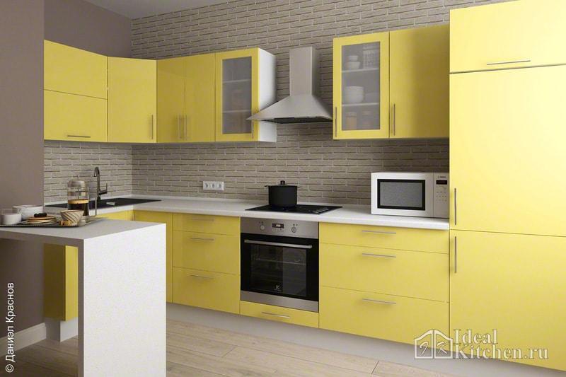 Кухня желтого цвета7