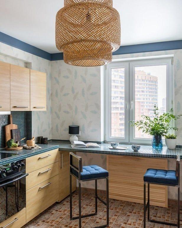 Кухонный гарнитур и обеденный стол в одном3