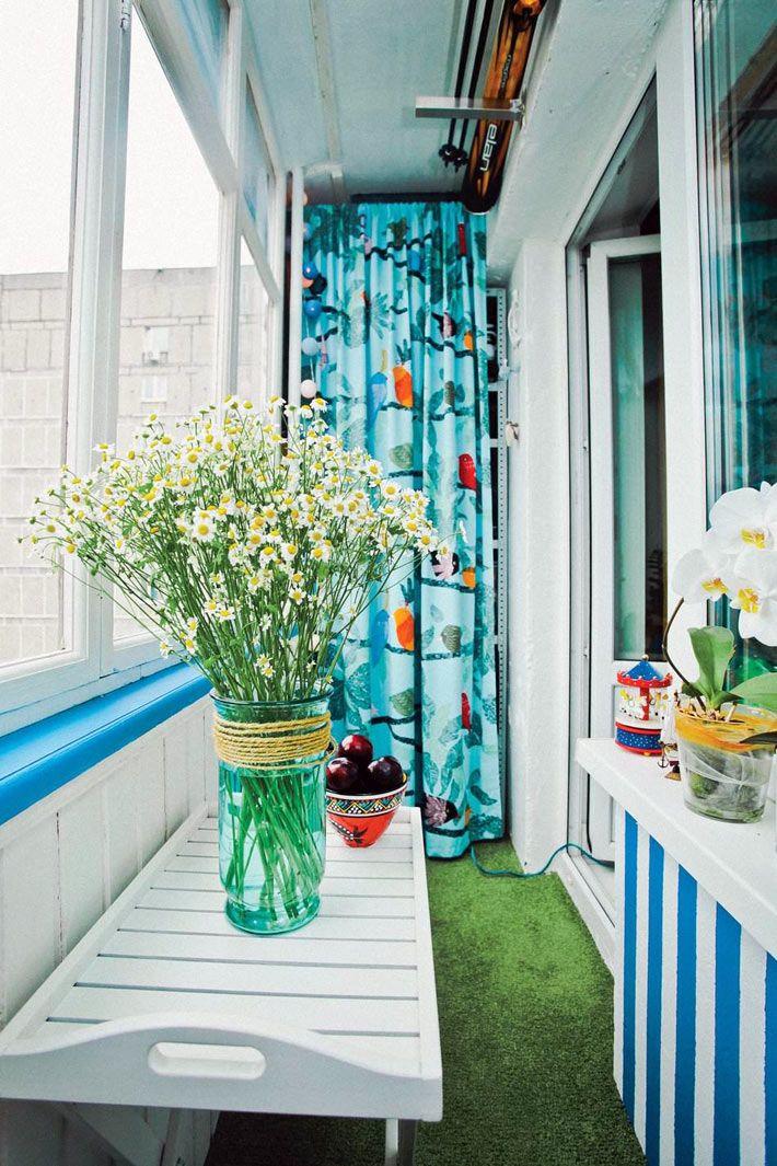 Летний красочный дизайн маленького балкона (4 кв. м.)1