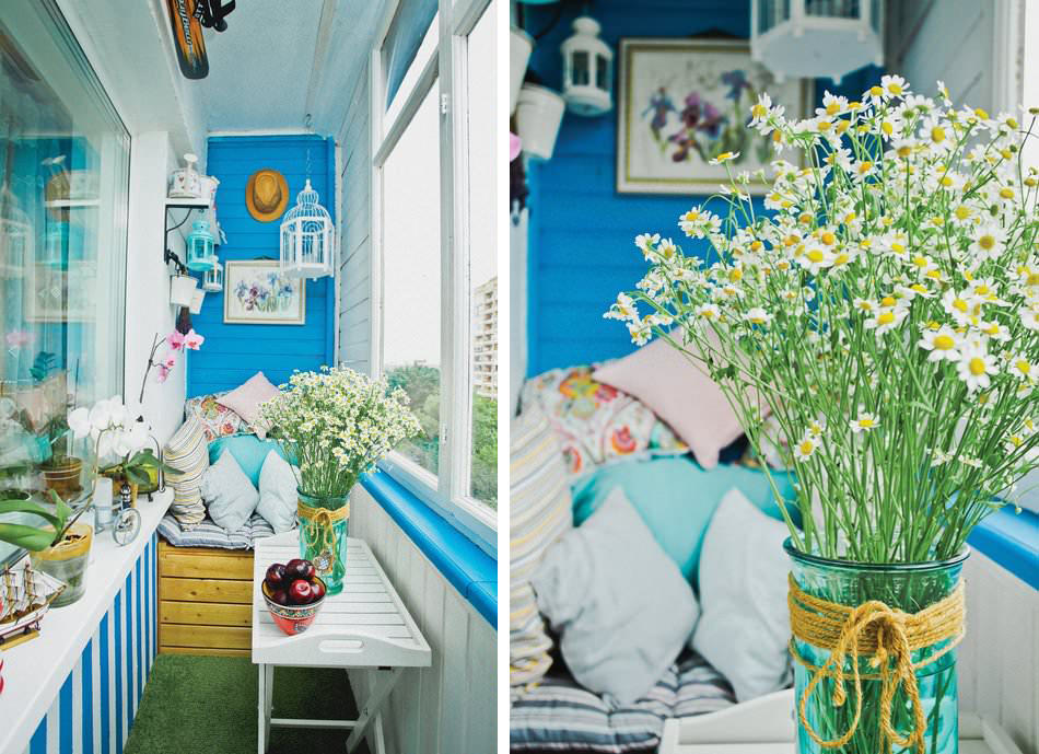 Летний красочный дизайн маленького балкона (4 кв. м.)3