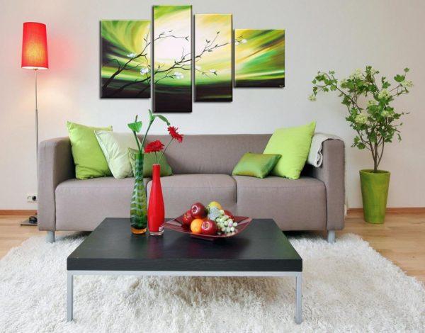 Модульные картины в интерьере различных комнат1