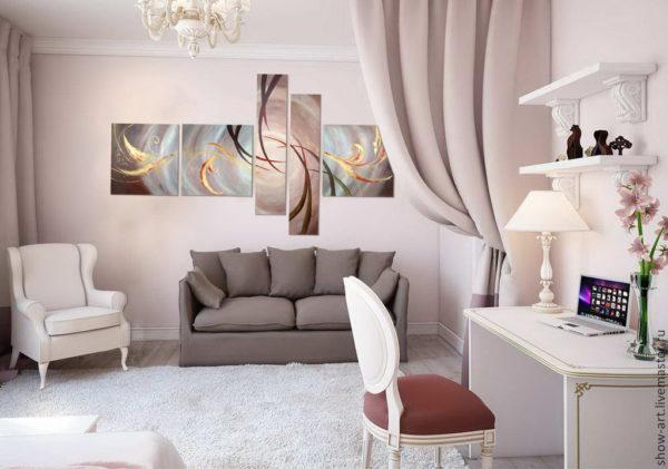 Модульные картины в интерьере различных комнат2