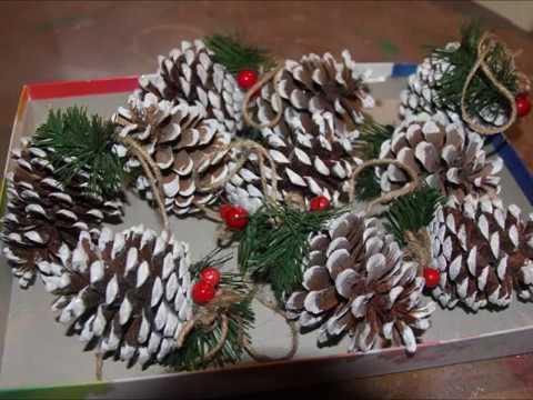 Новогодние украшения из шишек своими руками2