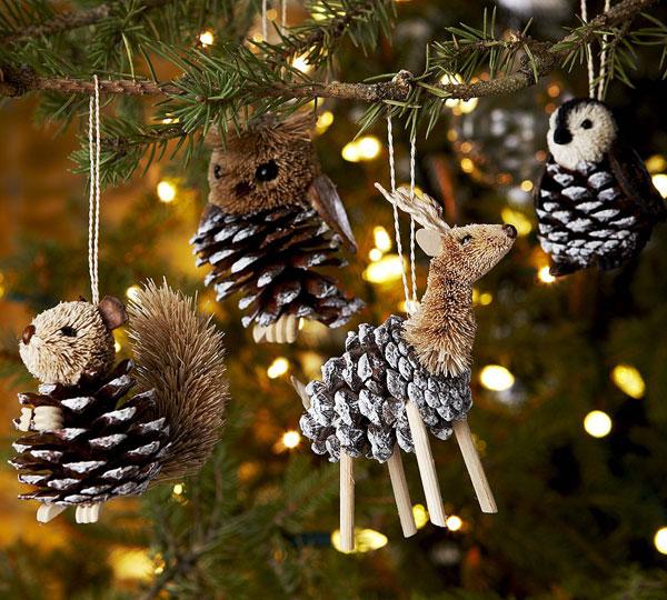 Новогодние украшения из шишек своими руками7