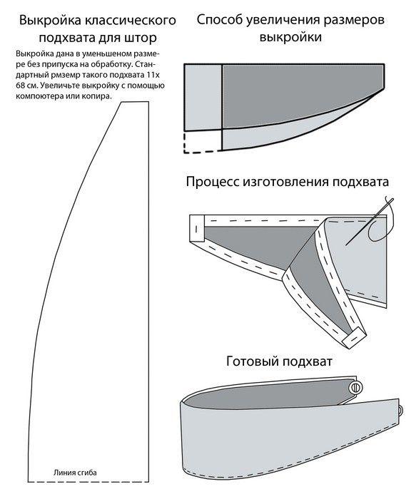 Подхваты для штор: выкройка с кольцом и с цветком (фото)1
