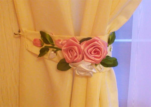 Подхваты для штор: выкройка с кольцом и с цветком (фото)6