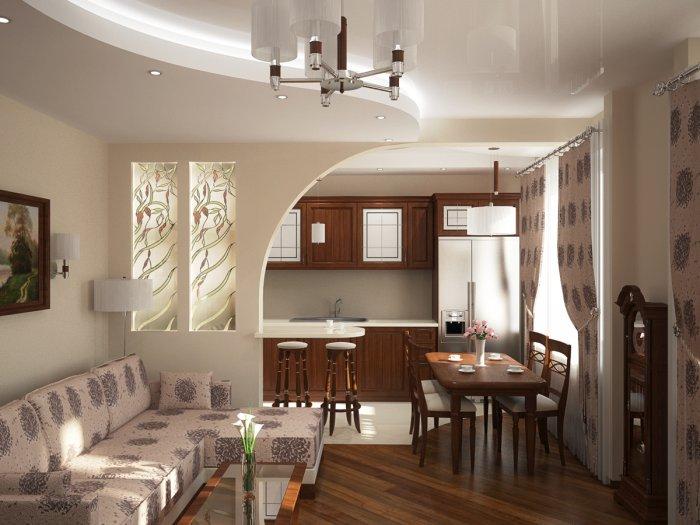 Зал и кухня вместе в дизайне интерьера дома0