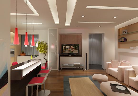 Зал и кухня вместе в дизайне интерьера дома1