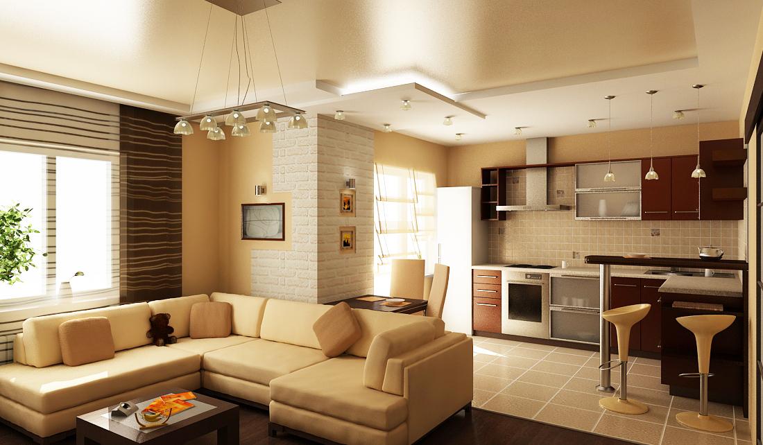 Зал и кухня вместе в дизайне интерьера дома2
