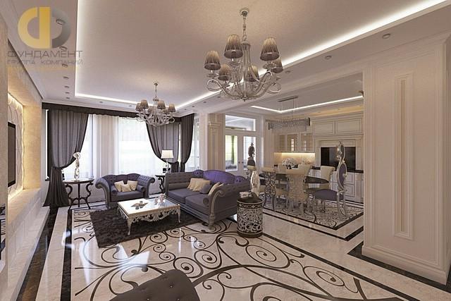 Зал и кухня вместе в дизайне интерьера дома3