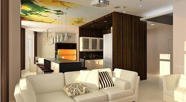 Зал и кухня вместе в дизайне интерьера дома4