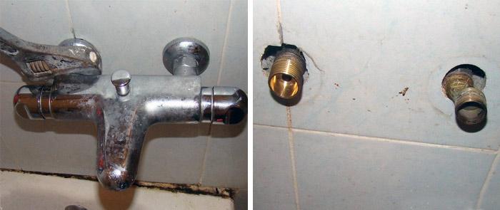 Замена смесителя в ванной2