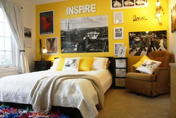 Желтые обои для спальни0