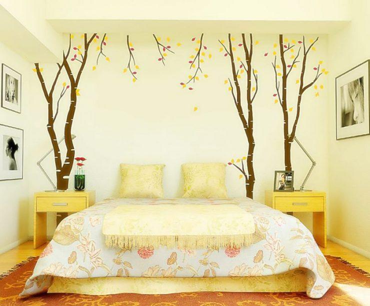 Желтые обои для спальни2