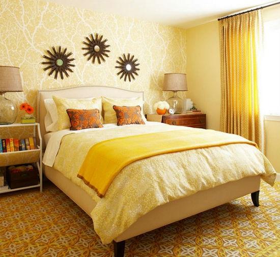 Желтые обои для спальни3