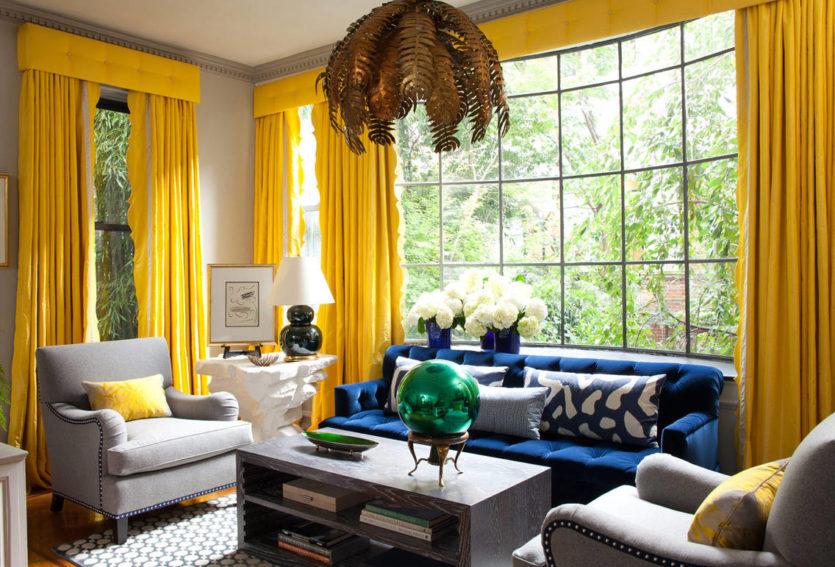 Желтые шторы: виды и выбор под интерьер3