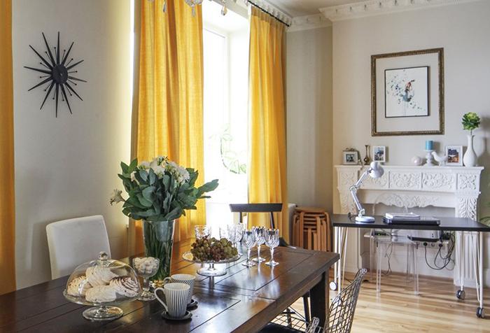 Желтые шторы: виды и выбор под интерьер0