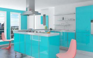 Впечатляющие кухни в голубом цвете