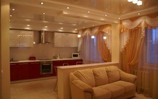 Как подобрать дизайн кухни совмещенной с залом