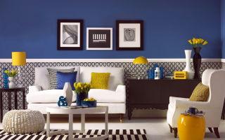Обои синего цвета – яркий интерьер