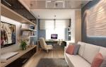Функциональный дизайн гостиной в роли кабинета
