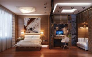 Интерьеры комнат: спальня для отдыха и работы (фото)