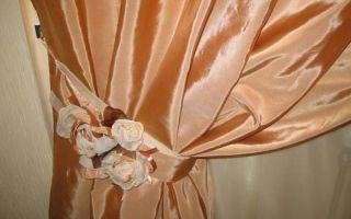 Подхваты для штор: выкройка с кольцом и с цветком (фото)