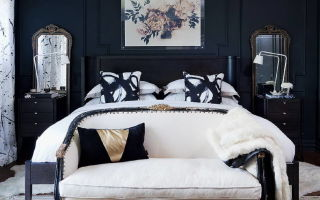 Эффектный дизайн спальни с черными стенами