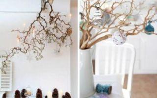 Новогоднее украшение дома: нарядные веточки