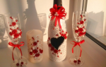 Оформление свадебных бокалов и бутылок своими руками: техника декорирования