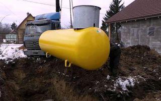 Установка газгольдера на даче