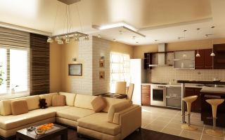 Дизайн кухни и гостиной вместе