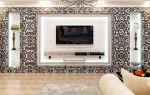 Оригинальный дизайн стены с телевизором в гостиной