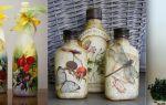 Декупаж бытылок салфеткамии: декор, мастер-класс (фото)