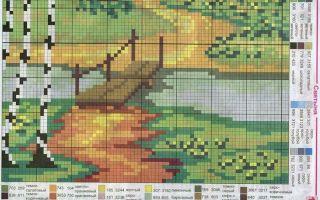 Вышивка крестом пейзажей больших размеров: схемы бесплатно, морские и зимние, городские и деревенские, маленькие монохром, наборы для осеннего, летние и весенние
