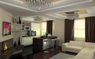 Дизайн объединенной кухни гостиной