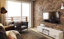 Как обыграть кирпичную стену в интерьере гостиной комнаты