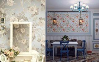 Обои в стиле прованс: фото в интерьере, для стен кухни, спальни и гостиной, в цветочек, коллекция кантри и прованс, детские компаньоны, в прихожую, видео